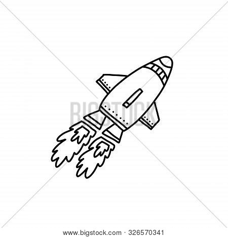 Advertising Flyer, Flying Rocket Cartoon Style. Small Spacecraft Art Sketch, Two Huge Flames Fire. C
