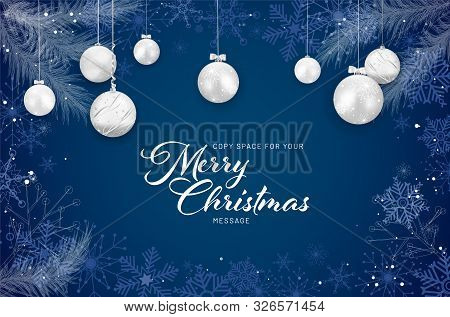 Christmas Card With Christmas Balls, Snowflakes And Branches On Blue Background - Copy Space For You