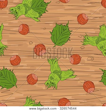 Cute Cartoon Hazel Nuts Seamless Pattern On Wood Background, Editable Vector Illustration For Fabric