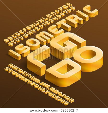Isometric Gold Alphabet Font. 3d Golden Letters And Numbers With Shadow. Stock Vector Typescript For