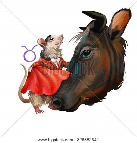 Taurus Creative Digital Illustration Of Astrological Sign. Rat Or Mouse Symboll Of 2020 Year Signs I