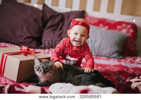 Cute Baby Posing With Cat At Home With Christmas Decorations.