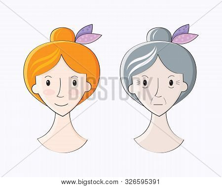Before And After The Aging Process. Conceptual Illustration Of A Young And Old Woman. Process Of Agi