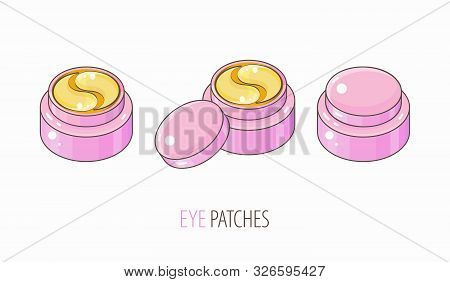Set hydrogel golden cosmetic eye patch in a pink jar. Cosmetic product for skin. Patches under the eyes. ollagen mask. Korean cosmetics. Facial skin care. Beauty product for eye care poster