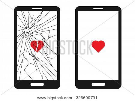 Broken Smart Phone With Cracks All Over The Screen And A Broken Red Heart. And A Whole Phone With A