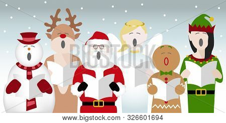 Choir Consisting Of A Snowman, Father Christmas, Gingerbread Man, Reindeer, Elf And Fairy Characters