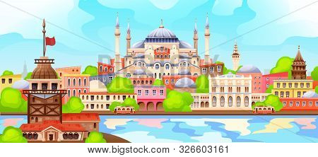 View Of Istanbul And Its Buildings Landmarks.