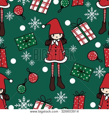 Christmas Holidays Season Seamless Pattern Of Cute Girl In Santa Costume With Gift Boxes, Christmas