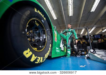 September 28, 2019 - Concord, North Carolina, USA: Kyle Larson (42) gets ready to practice for the Bank of America ROVAL 400 at Charlotte Motor Speedway in Concord, North Carolina.