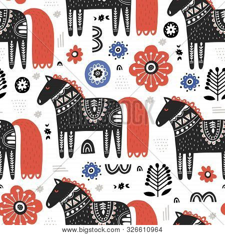 Horses In Nordic Style Handdrawn Seamless Pattern. Cute Cartoon Animals On White Background. Equines