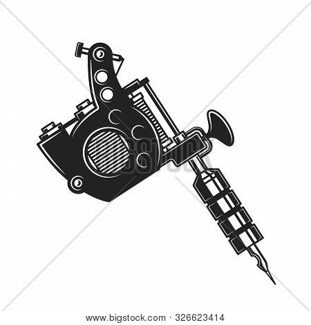 Tattoo Machine Or Gun Isolated Monochrome Object. Vector Handheld Electromagnetic Coil Device To Cre