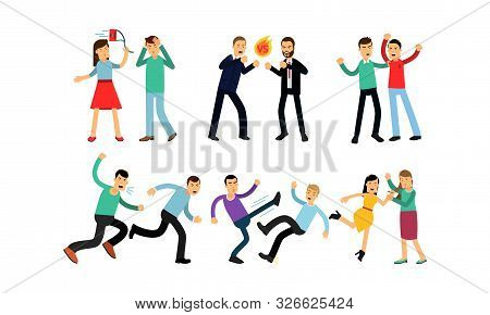 Vector Illustration Set Of Negative Emotions And Aggressive People Isolated On White Background