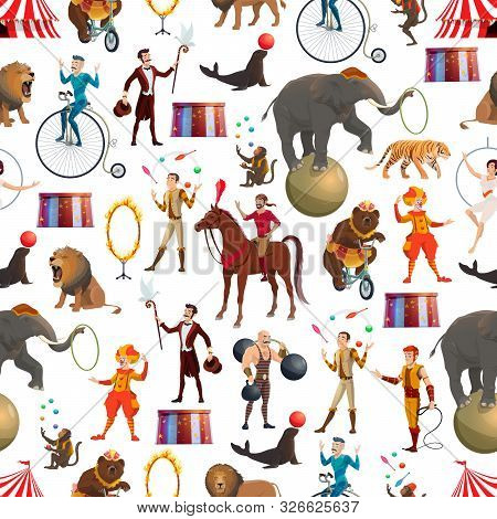 Circus Entertainment Show Seamless Pattern. Vector Background Of Circus Tamer With Lion In Fire Ring