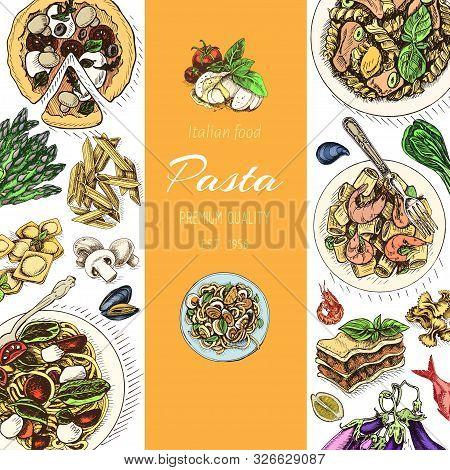 Vector Illustration Sketch - Pasta. Card Menu Italian Resraurant.