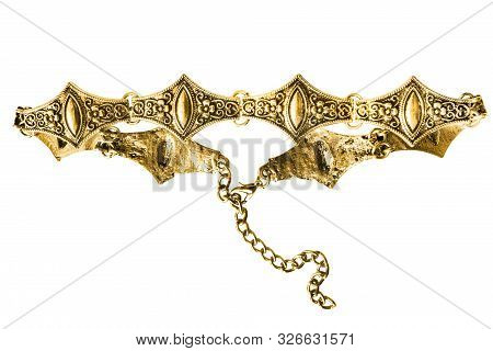 Gold elegant choker necklace isolated over white poster