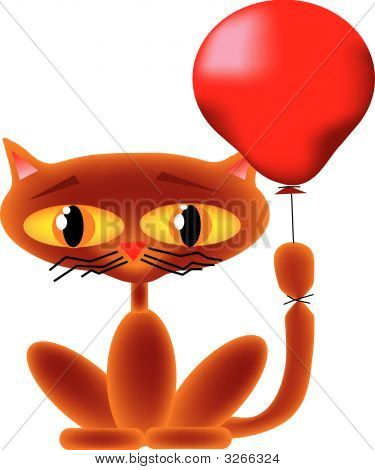A Siamese_type cat with a red balloon tied to it's tail. poster