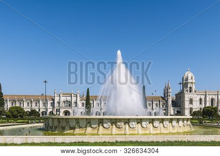 Fountain In Front Of The Jeronimos Monastery Or Hieronymites Monastery, A Unesco World Heritage Site