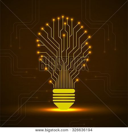 Abstract Glowing Lamp With Circuit Board. Technology Shape Bulb