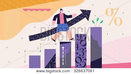 Growth Modern Abstract Concept Vector Illustration. Increased Economical Percent Rate Measurement In