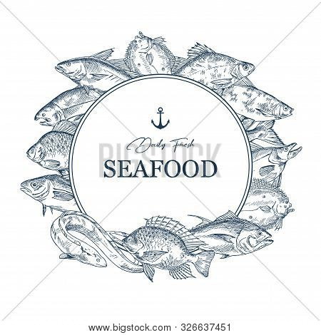 Sign With Seafood Sketches Or Banner With Hand Drawn Fish. Insignia With Underwater Wildlife Or Badg