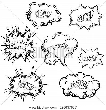 Isolated Sketches Of Comic Exclamation Or Onomatopoeia Sounds, Explosion Bubble Or Approval Clouds.