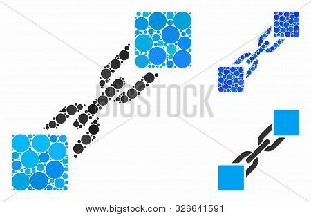 Blockchain Mosaic For Blockchain Icon Of Filled Circles In Various Sizes And Color Tones. Vector Fil