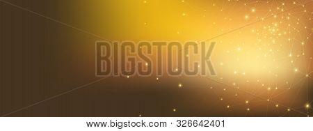 Gold Technology Business. 3d Big Data. Glow Dots Network. High Triangular Background. Light Technolo