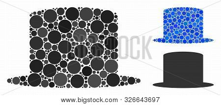 Gentleman Hat Mosaic For Gentleman Hat Icon Of Spheric Dots In Various Sizes And Color Tones. Vector