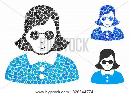 Blind Woman Composition For Blind Woman Icon Of Round Dots In Various Sizes And Color Tints. Vector