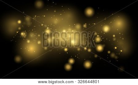 Golden Lights Background. Christmas Lights Concept.  Glowing Yellow Bokeh Circles Abstract Gold Luxu
