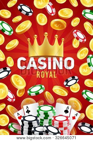 Royal Casino, Vector Gambling Games, Poker Playing Cards And Blackjack Chips, Golden Crown And Golde