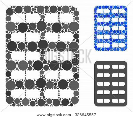 Blister Composition For Blister Icon Of Circle Elements In Various Sizes And Color Hues. Vector Circ