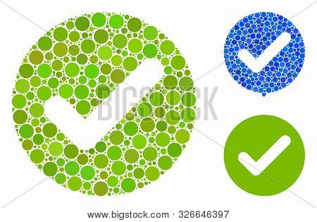 Accept Composition For Accept Icon Of Small Circles In Variable Sizes And Color Tints. Vector Filled