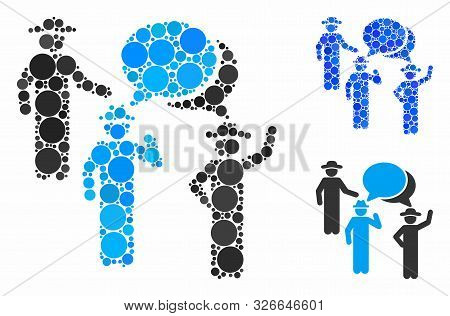 Gentlemen Discussion Mosaic For Gentlemen Discussion Icon Of Filled Circles In Different Sizes And C