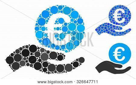 Euro Salary Mosaic For Euro Salary Icon Of Filled Circles In Various Sizes And Color Tints. Vector F
