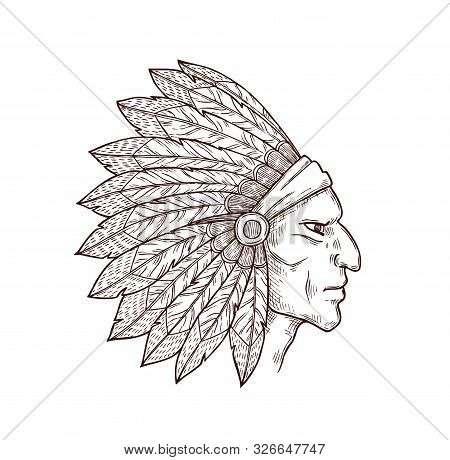 Indian From Wild West, Native American People. Vector Chief Of Tribe In Traditional Headdress, Masco