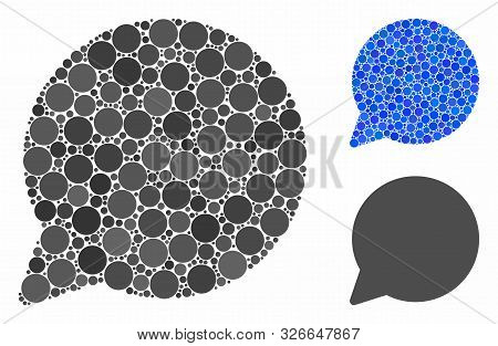 Hint Balloon Mosaic For Hint Balloon Icon Of Spheric Dots In Different Sizes And Shades. Vector Roun