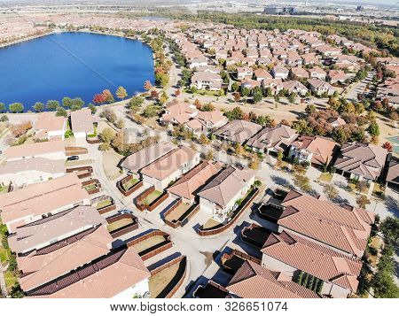 Top View Lakeside Dallas Suburban Sprawl With New Development Residential House And City Skylines