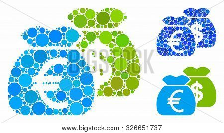 Funds Composition For Funds Icon Of Circle Elements In Different Sizes And Color Tints. Vector Round