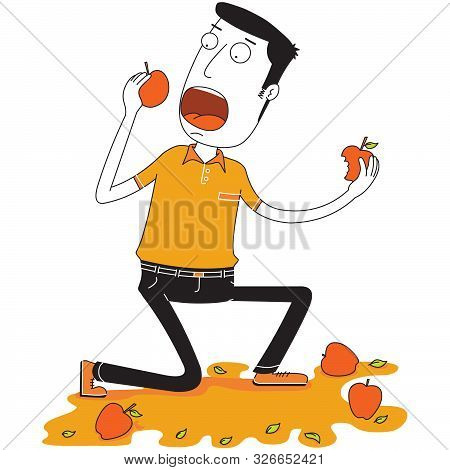 Illustration Of A Man Eats Some Apples