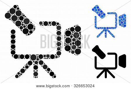 Camcorder Mosaic For Camcorder Icon Of Filled Circles In Various Sizes And Color Tints. Vector Fille