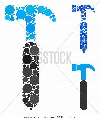 Claw Hammer Mosaic For Claw Hammer Icon Of Spheric Dots In Different Sizes And Color Tints. Vector C