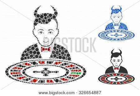 Devil Roulette Croupier Mosaic For Devil Roulette Croupier Icon Of Filled Circles In Variable Sizes
