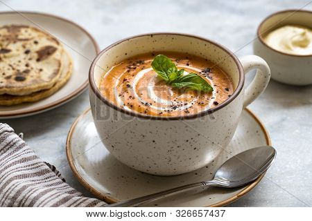Red Lentil Soup With Bread And Sour Cream On White Marble Background. Homemade Red Lentil Soup Puree
