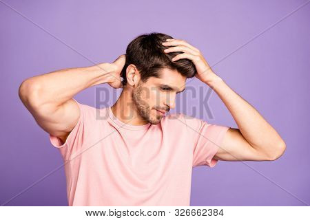 Close-up portrait of his he nice attractive well-groomed brunet bearded guy wearing pink tshirt touching hairdo anti dander treatment isolated over violet purple lilac pastel color background poster