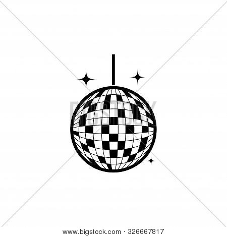 Party Mirror Disco Ball. Flat Vector Icon Illustration. Simple Black Symbol On White Background. Par