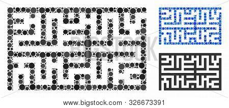 Labyrinth Mosaic For Labyrinth Icon Of Small Circles In Different Sizes And Color Hues. Vector Small