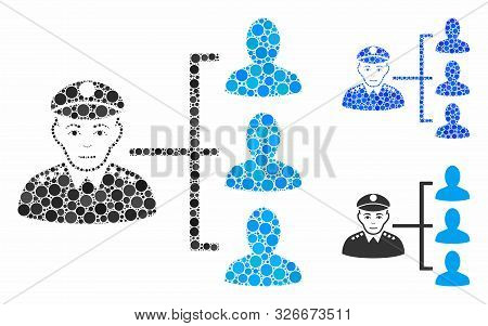 Officer Subordinates Composition For Officer Subordinates Icon Of Circle Elements In Different Sizes