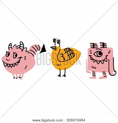 Cute Kids Strange Monster Design Illustrations. Hand Drawn Winged Creature Clipart.