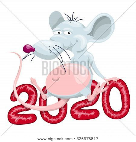 The Fat Rat Is Sitting On 2020. Vector Illustration In Cartoon Style.